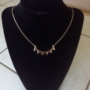 New Silver Curved Bar Spike Necklace